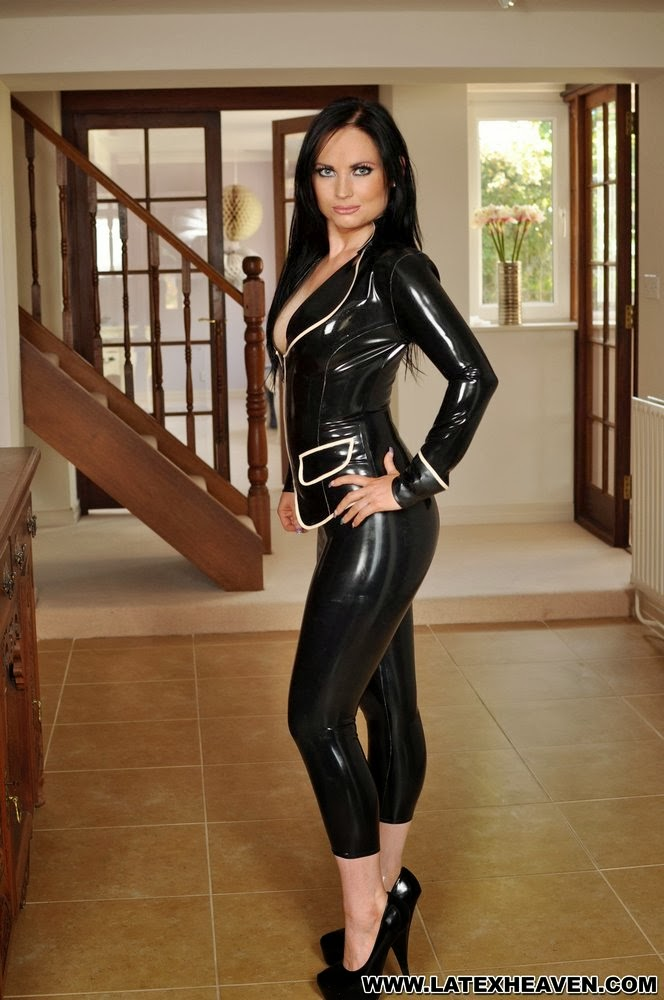 Sexy Babe Black Latex Jacket, Sexy Latex Leggings and Heels