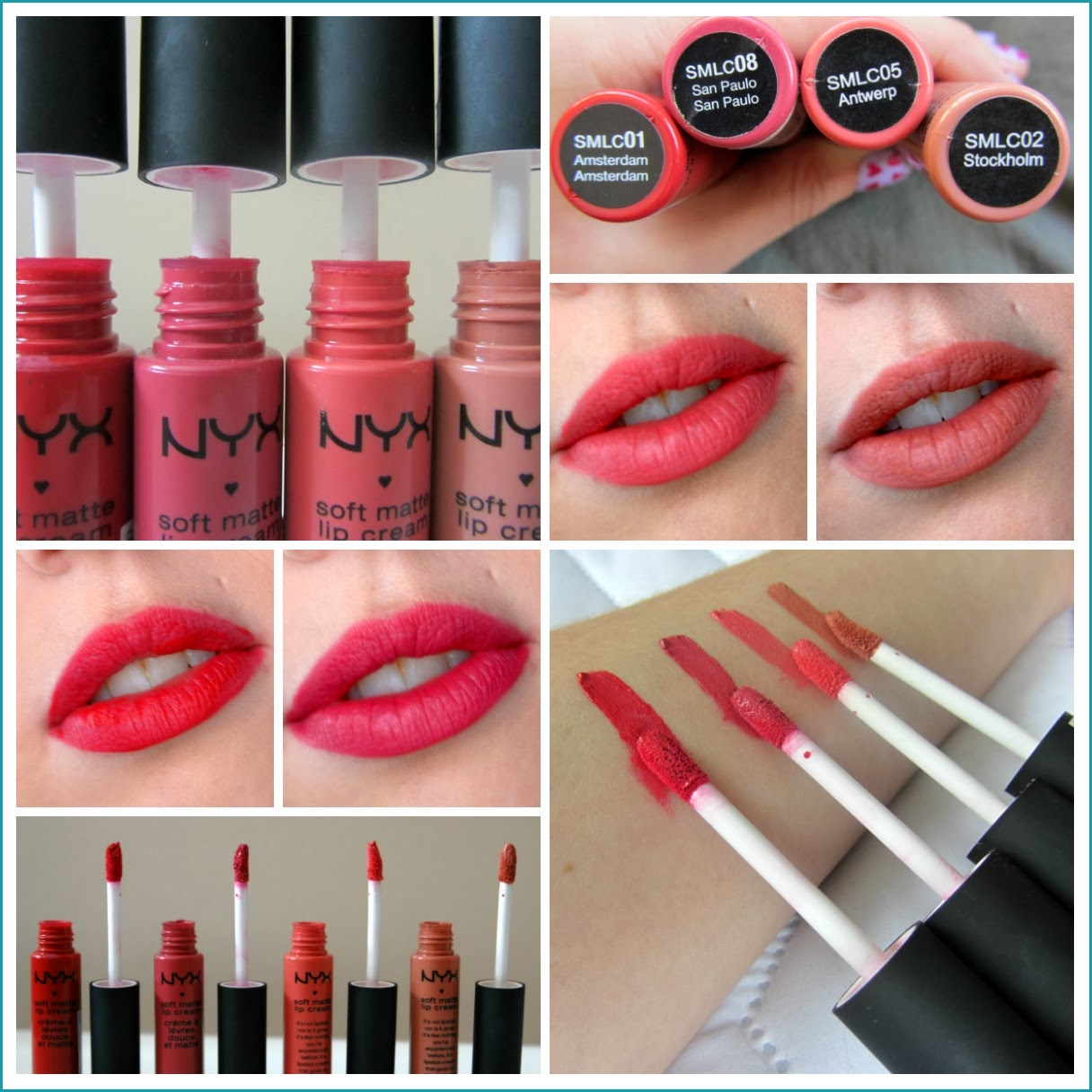 NYX Soft Matte Lip Cream, Amsterdam, San Paulo, Antwerp, Stockholm, Review and Swatches