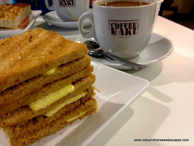 Kaya toast and a cup of coffee in Changi Airport Singapore
