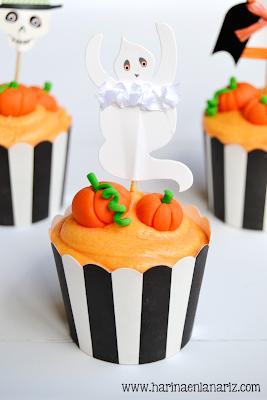 cupcake de calabaza con fantasma