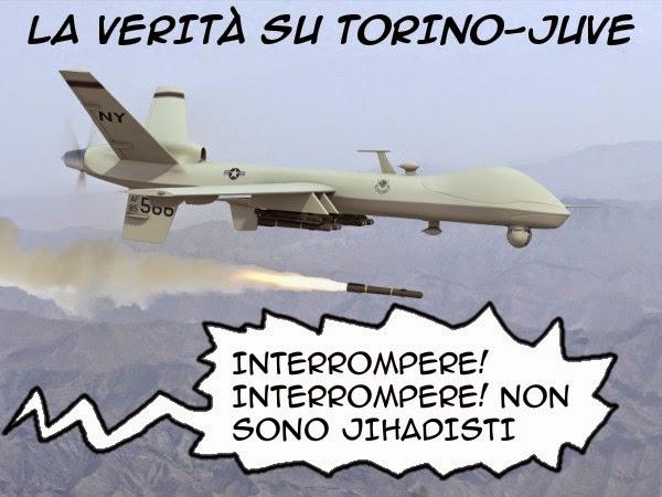 Bombacarta, Torino-Juventus, drone, satira