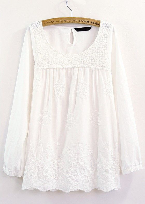 White Patchwork Lace Long Sleeve Blouse