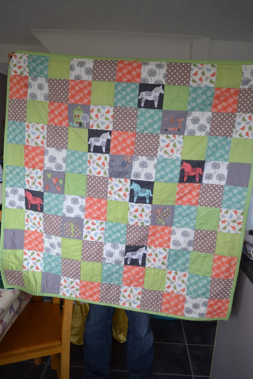 kitchen table sewing baby quilt update 4