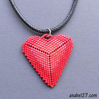 купить кулон в виде сердца сердечко тиз бисера подарок девушке на день влюбленных