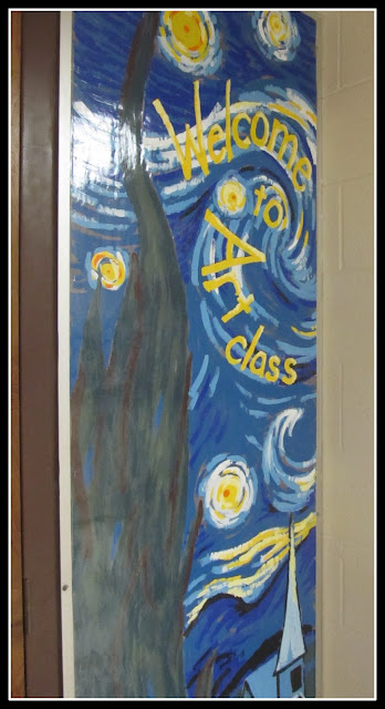photo of: Painted Welcome Mural to Art Room