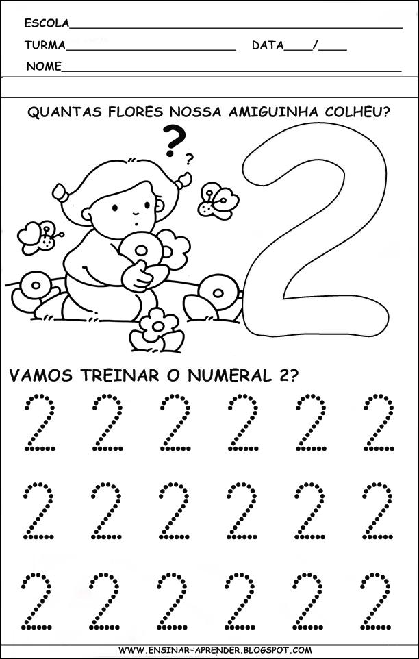 Numero Numeral E Quantidade Atividade Pontilhada Do Numero 1 Atividade