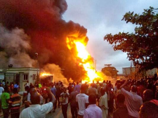 explosion mobil gas station ikeja