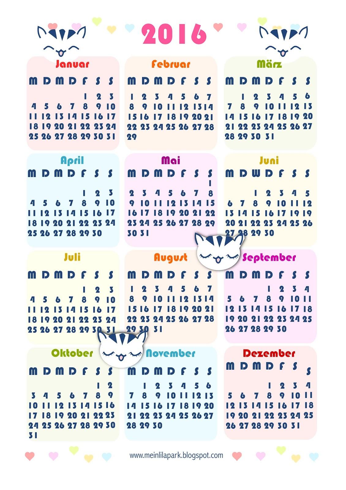 free printable 2016 kawaii calendar ausdruckbarer kalender 2016 freebie meinlilapark. Black Bedroom Furniture Sets. Home Design Ideas