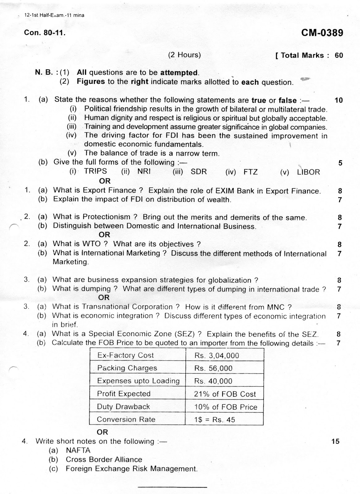 question papers collection international business bbi international business bbi