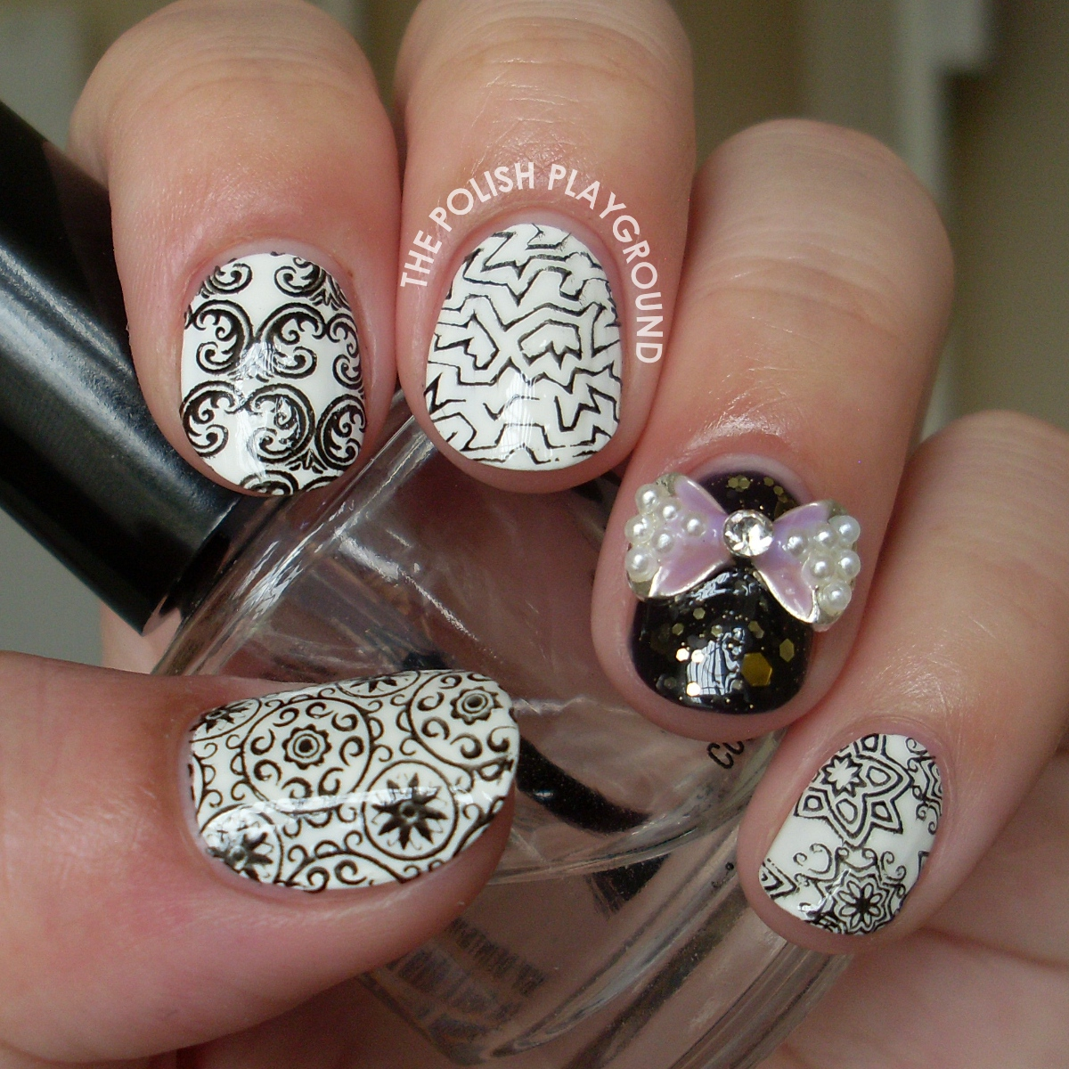 Random Black and White Stamping Nail Art