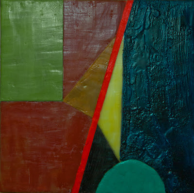 image of encaustic composition on wood panel