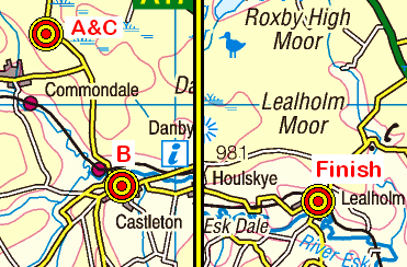 Map of the Brown Hill to Lealholm area