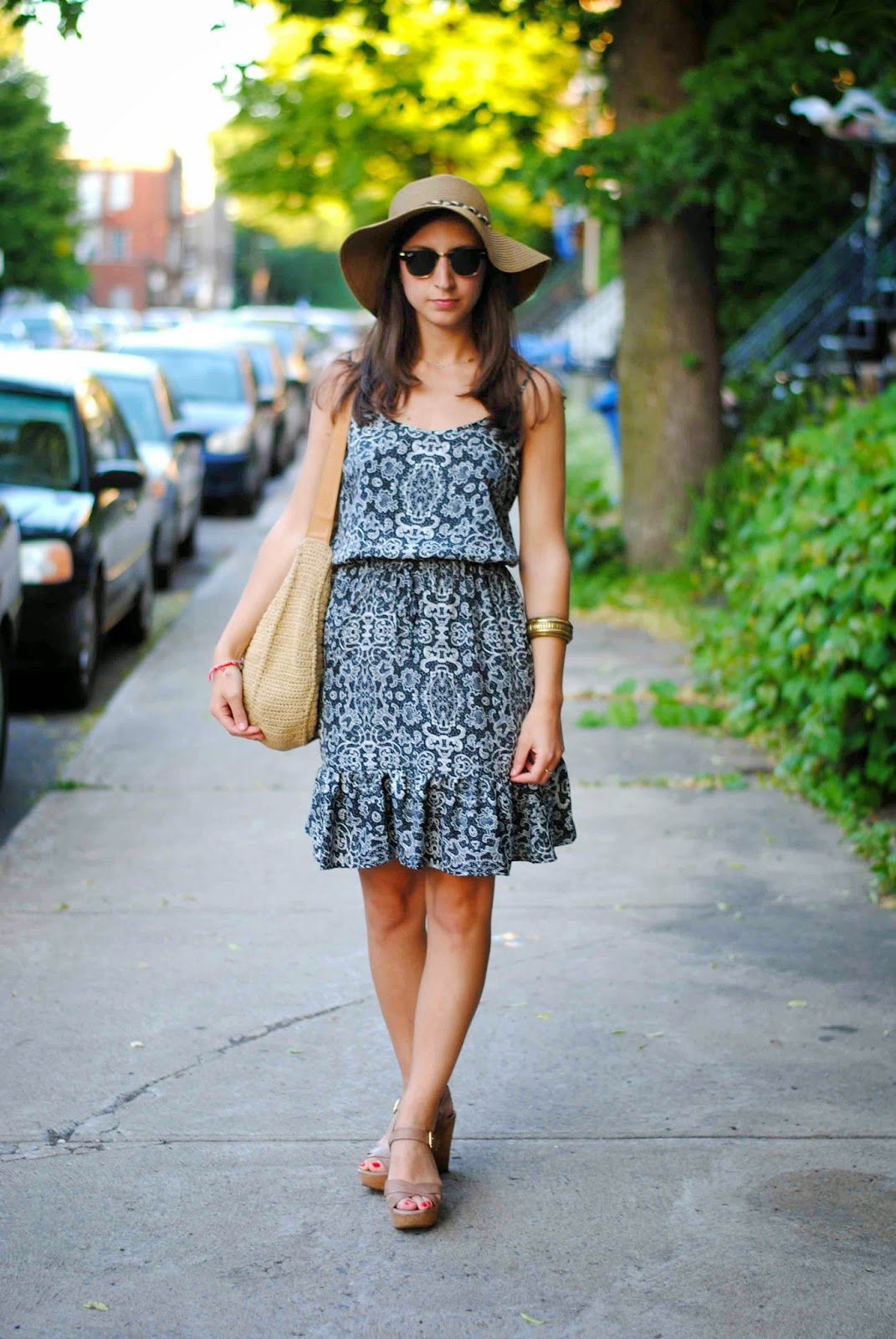joe fresh summer dress fashion floppy hat wedge sandals