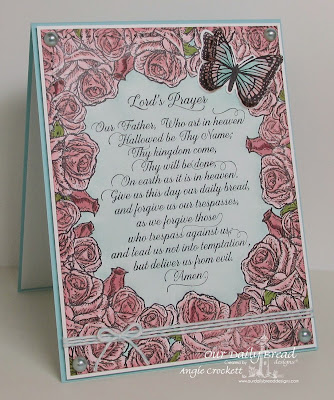 ODBD Lord's Prayer Script, ODBD Trois Jolies Papillons, ODBD Custom Trois Papillons Dies, ODBD Rose Bouquet, Card Designer Angie Crockett
