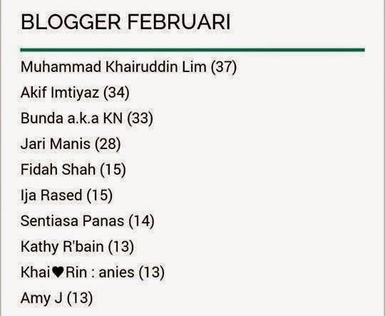 Senarai blogger mesra Februari 2015