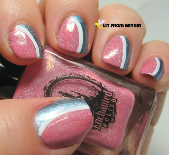 I love what adding a simple white stripe does to the nail art