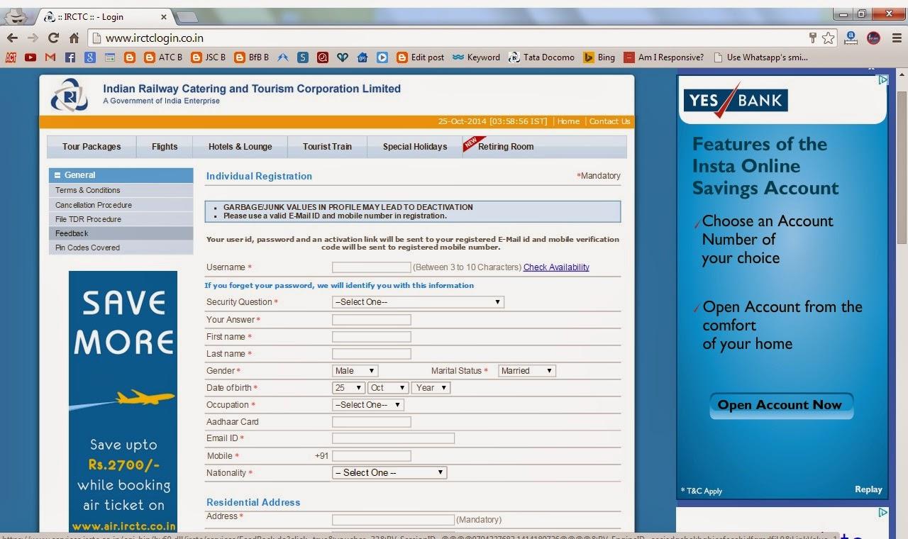 Irctc Sign Up Registration Form