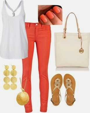 coral and gold outfit red pant &white blouse lovely woman