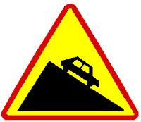 Road sign sleep slope