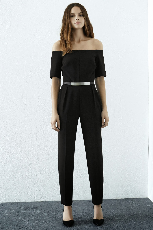 black off shoulder jumpsuit, warehouse black jumpsuit, metal belt jumpsuit,