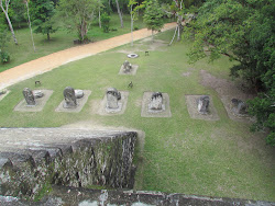Group Q Pyramid with Stilas and Sacrificial Stones beneath - Tikal