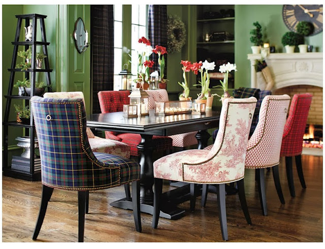 Horse country chic tantalizing tartan for Ballard designs dining room