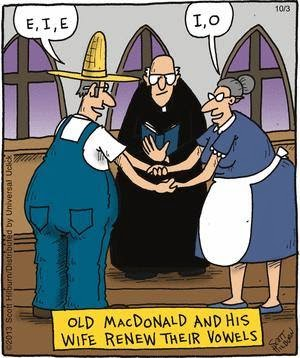 Image: Old MacDonald and wife renew their vowels