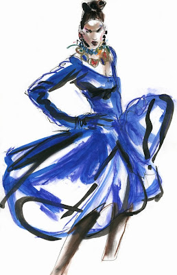 blue yves saint laurent dress fashion illustration by robert wagt