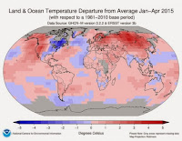 The areas of the world that were colder or hotter than normal from January to April 2015. (Credit: NOAA) Click to Enlarge.