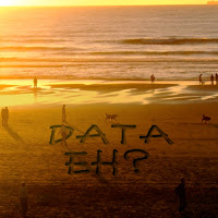 each at sunset with DATA eh? in sand writing on beach