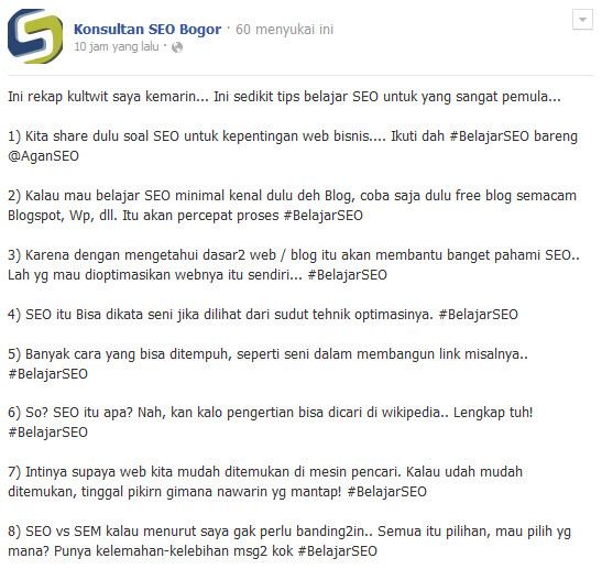 Screenshot Kultwit Tips Belajar SEO untuk Pemula oleh Akang Sunda di @AganSEO Bag 1
