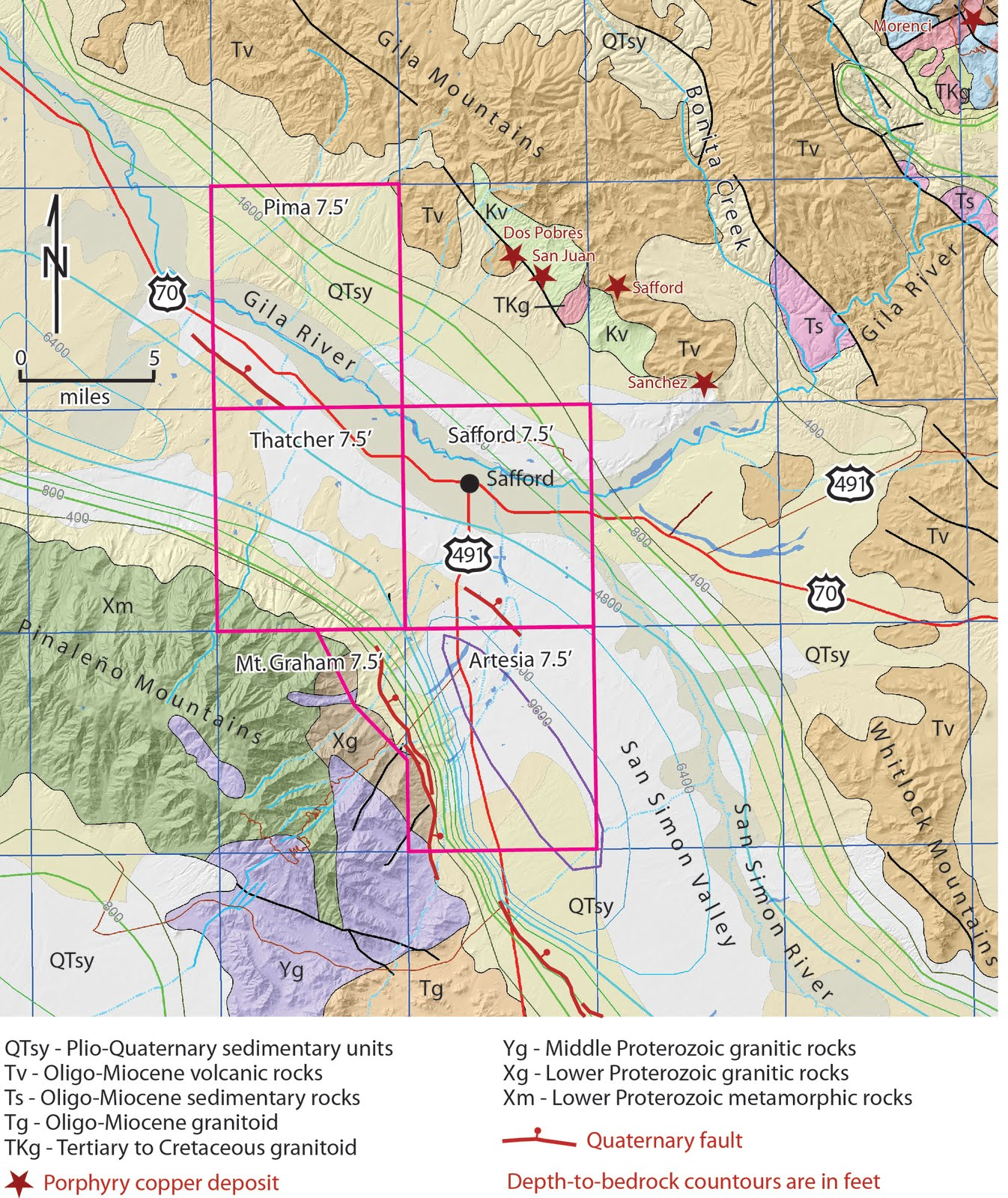 Arizona Geology: Why we map, #3: Upper Gila River and Safford area