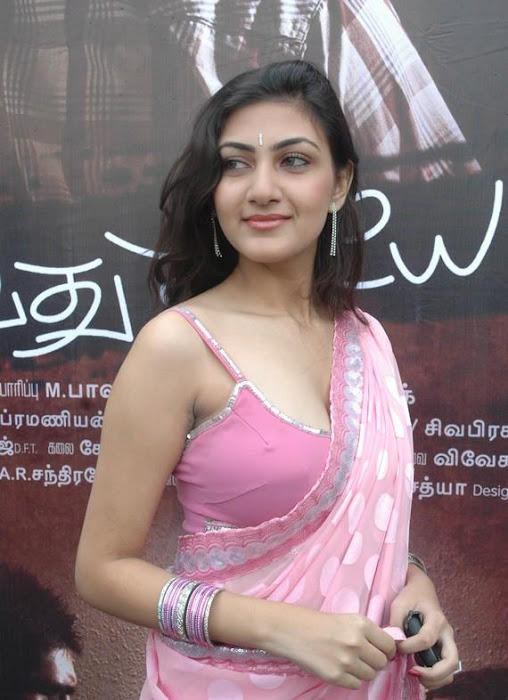 Neelima in Pink Blouse & Pink Chiffon Saree @ Tamil Movie Release