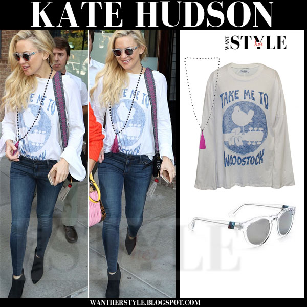 Kate Hudson in white Woodstock print top and clear sunglasses westward leaning voyager 13 what she wore