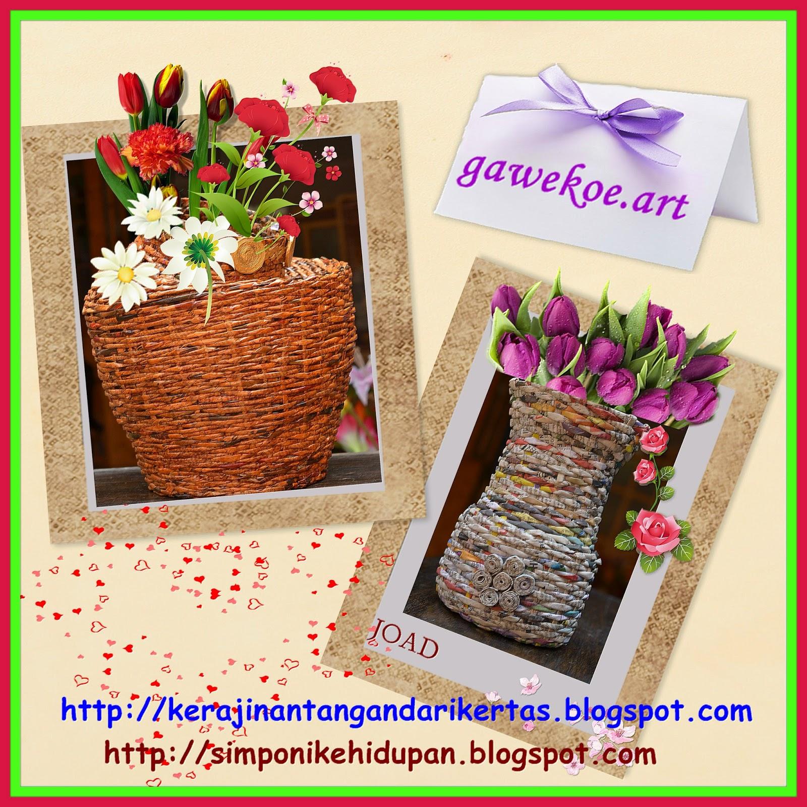 Kerajinan tangan dari daur ulang kertas koran ; vas bunga