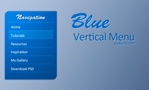 Free PSD Blue Vertical Menu