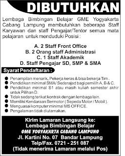 Job in Lampung, GME Yogyakarta Cabang Lampung