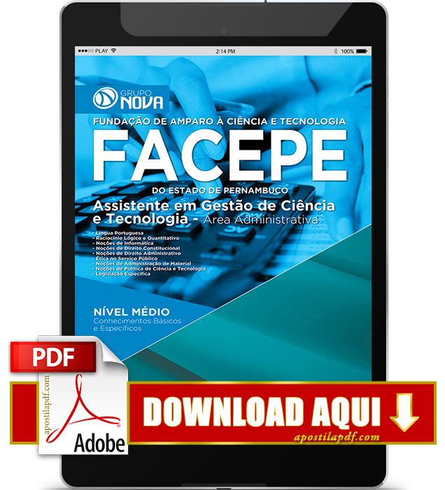 Apostila FACEPE PE 2015 PDF Download Assistente Área Administrativa