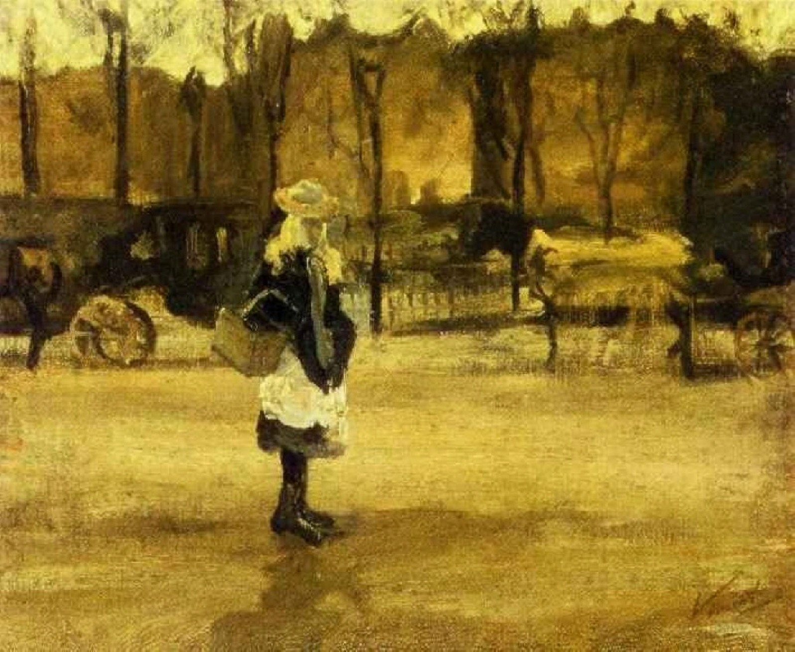 A Girl in the Street, Two Coaches in the Background by Vincent van Gogh, Alternate Brighter Image