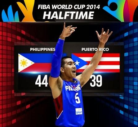FIBA World Cup Philippines vs Puerto Rico Half-time Score