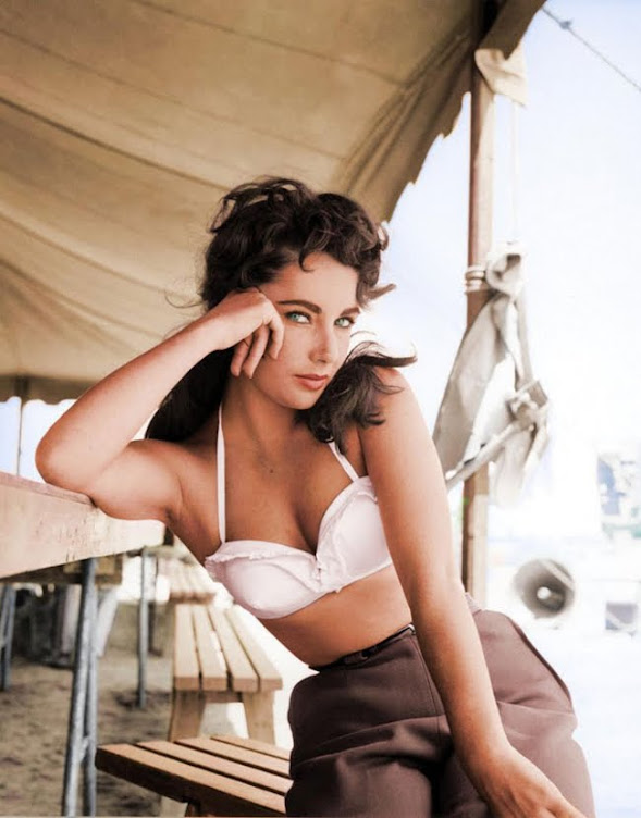 "Elizabeth Taylor in 1956 on the set of ""Giant""."