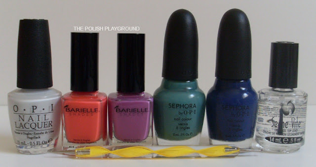 OPI, Barielle, Spehora by OPI, Seche Vite, dotting tool