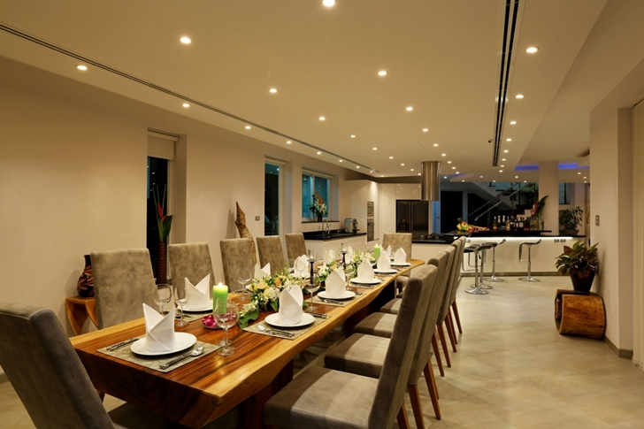 Dining table at night in Modern Villa Beyond in Phuket