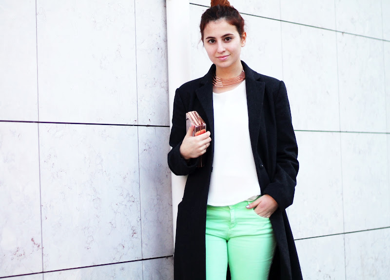street style neon mint and rose gold