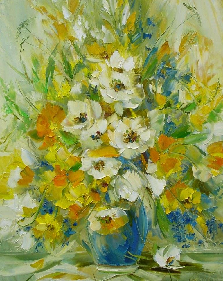 Im genes arte pinturas cuadros de margaritas al leo - Fotos jarrones con flores ...