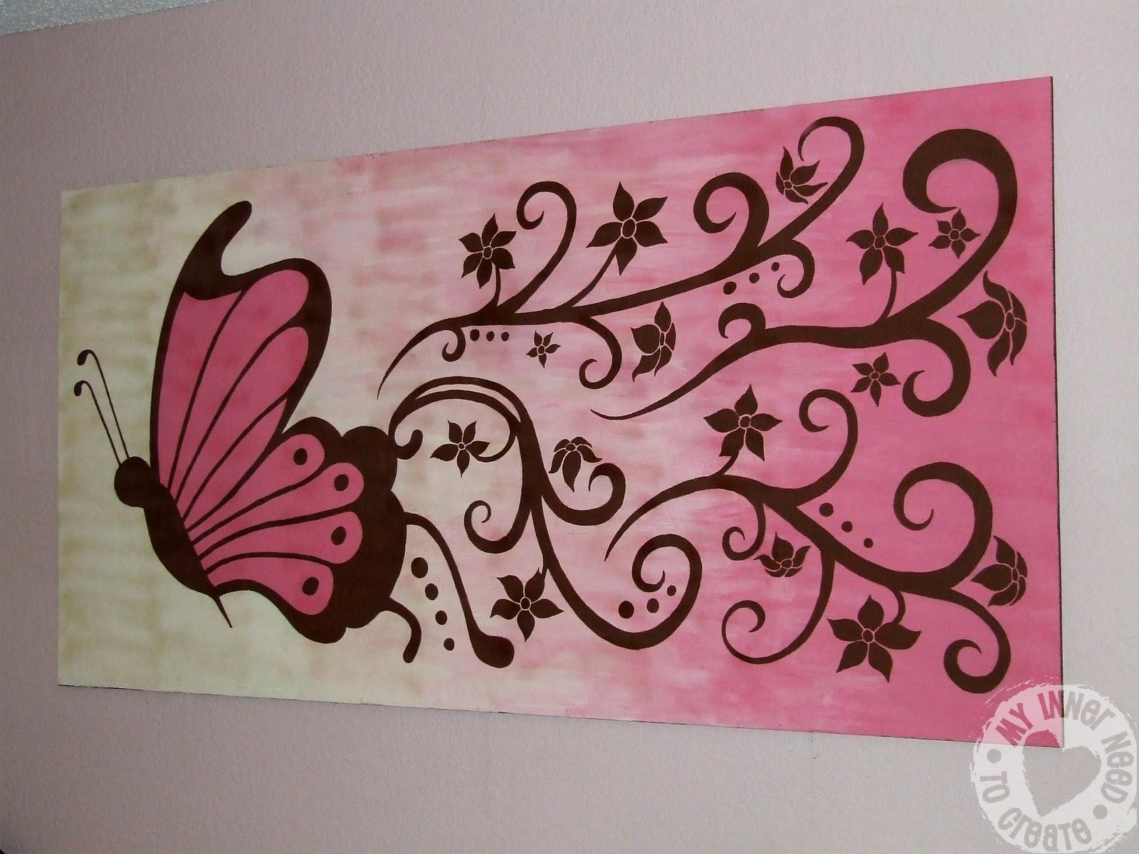 My Inner Need to Create: Brown and Pink Butterfly and Flower Mural