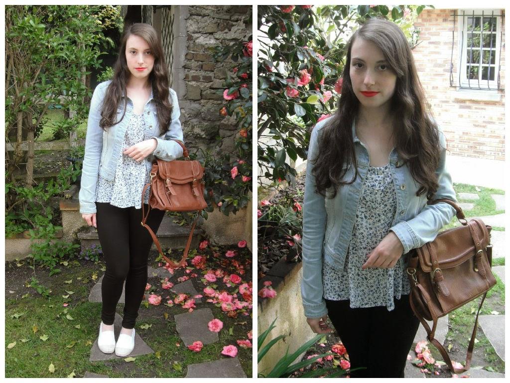 Lookbook printemps 2015 tenue 2 : haut fleuri et veste en jeans