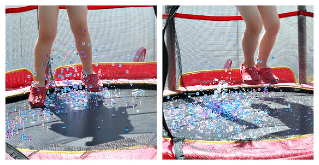 collage showing child jumping on trampoline with water beads bouncing around the feet