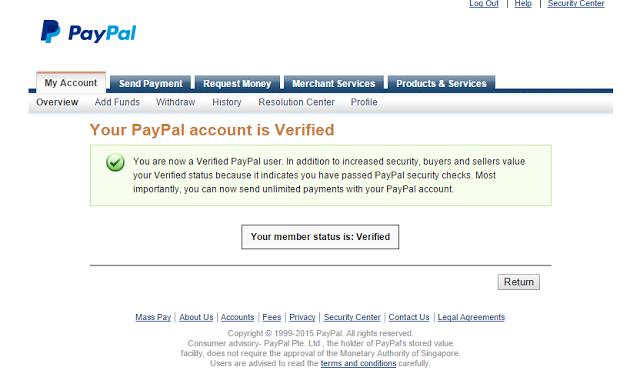 Cara Verifikasi akun Paypal