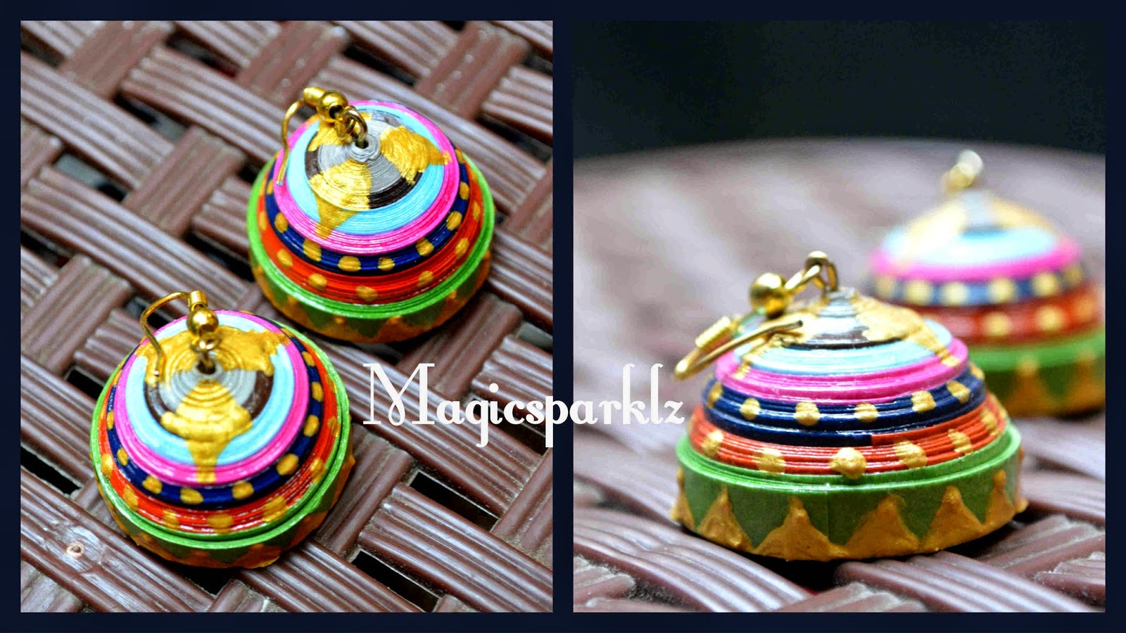 Multicolour quilled jhumka